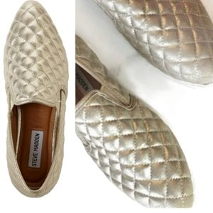 Steve Madden Gold Quilted Sneakers 6.5
